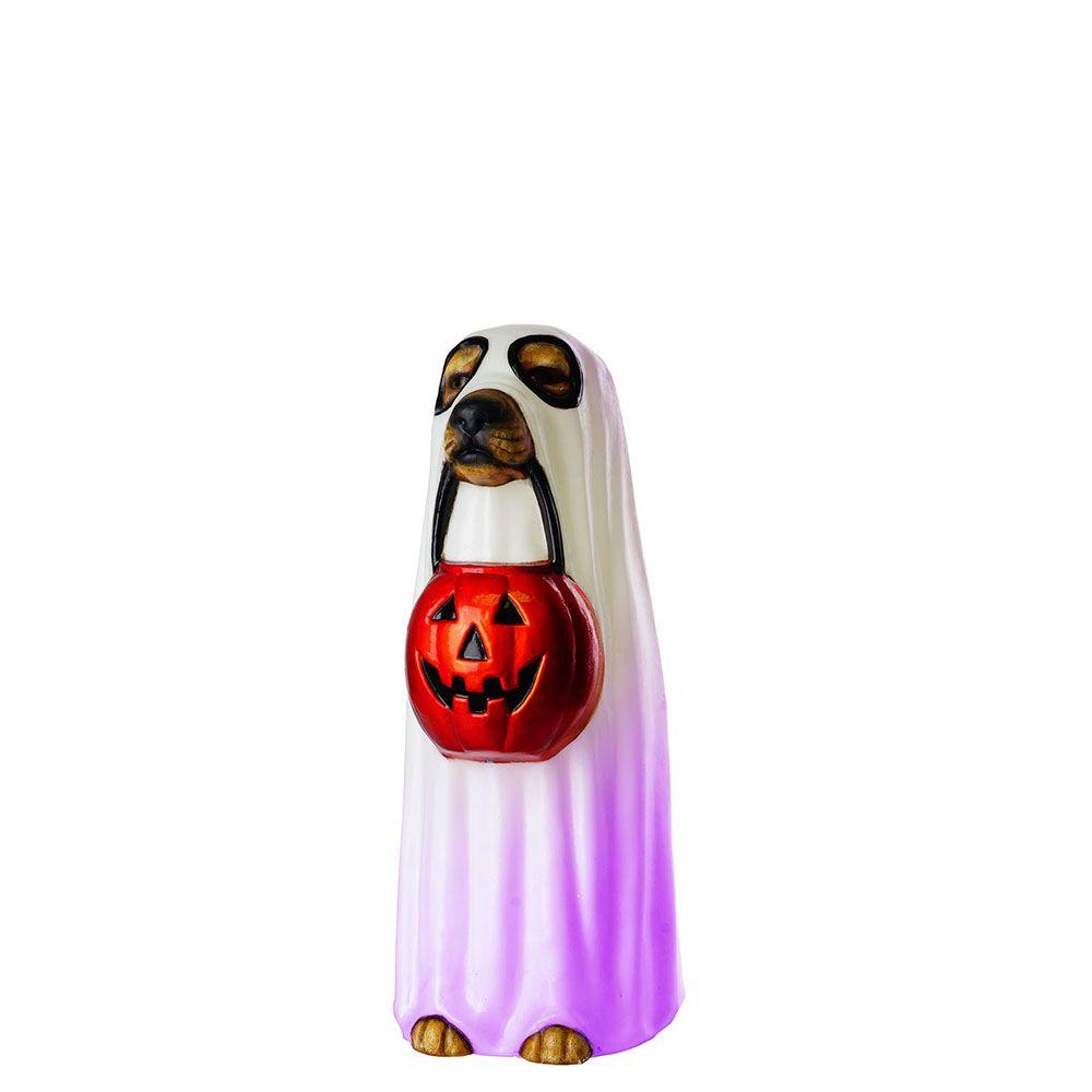 24-inch LED-Lit Ghost Dog Halloween Decoration