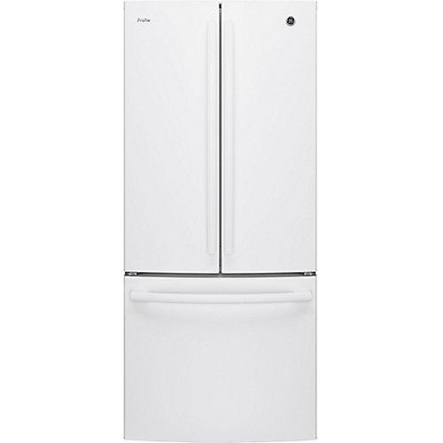 30 po L 20,8 pi.cu. Réfrigérateur à porte française en blanc avec porte en bas