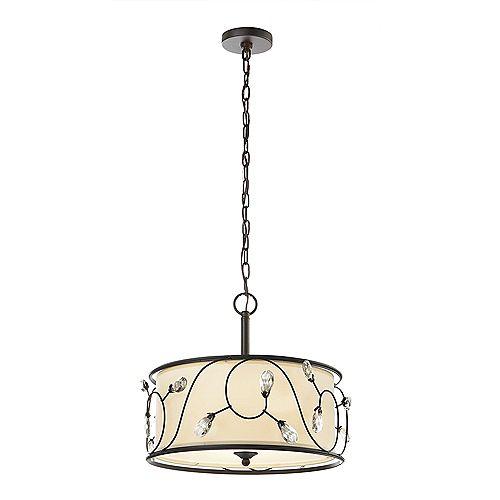 Home Decorators Collection 15.75 inch Maria 3-Light Bronze Florence Drum Pendant Light