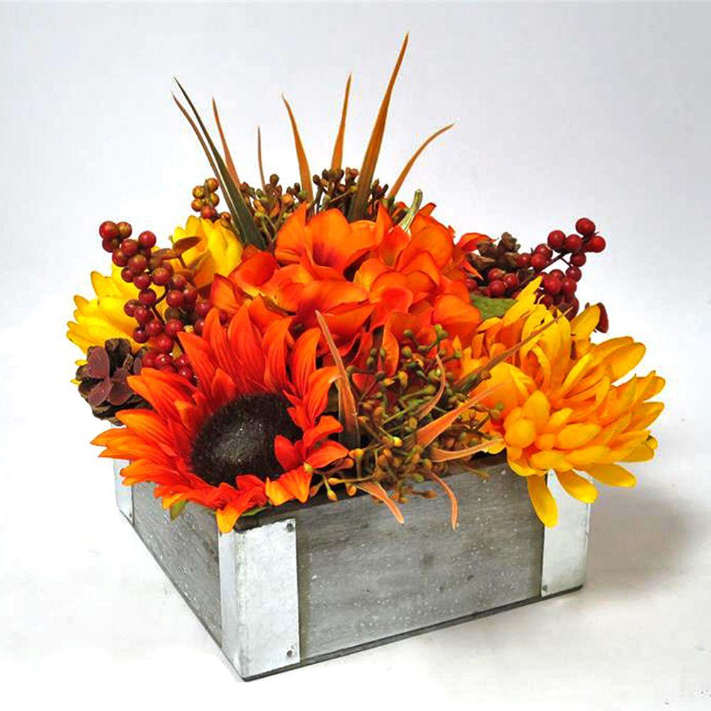 HAR Arrangement floral d'automne dans pot en bois
