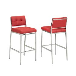 Brassex Inc. Sorrentto 29' Bar Stool in Red (Set of 2)