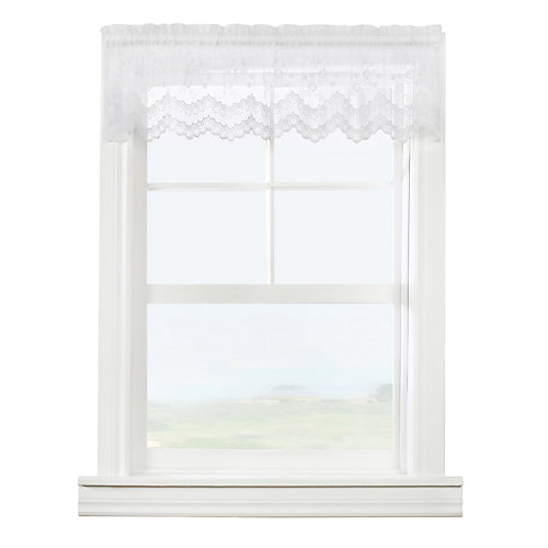 Mona Lisa sheer rod pocket tailored valance scalloped lace, white 56in x 15in