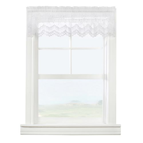 Habitat Mona Lisa sheer rod pocket tailored valance scalloped lace, white 56in x 15in
