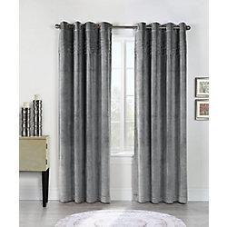 Habitat Victorian plush velvet pleats at top, grommet panel, grey 50in x 84in