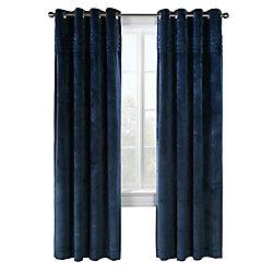 Habitat Victorian plush velvet pleats at top, grommet panel, blue 50in x 84in