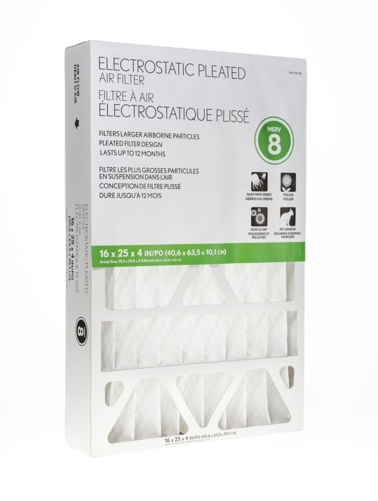 Air Flow Electrostatic Pleated Air Filter 16X25X4 Pack of 4 Filters