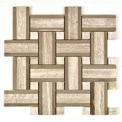 Modamo Carreau de mosaïque, marbre gris poli, tweed de lignes de bois, blanc