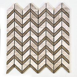 Modamo Chevron Wooden White with Grey Marble Polished Mosaic Tile