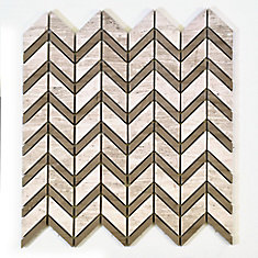 Chevron Wooden White with Grey Marble Polished Mosaic Tile