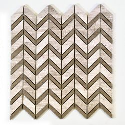 Modamo Chevron Wooden White with Grey Marble Polished Mosaic