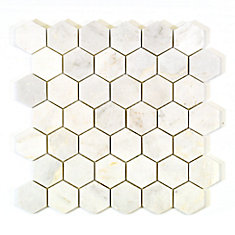 Hexagon White 2-inch x 2-inch Marble Polished Mosaic Tile