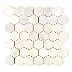 Modamo 2 Inch x 2 Inch Hexagon White Marble Polished Mosaic