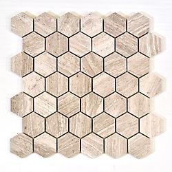 Modamo Hexagon Wooden White 2-inch x 2-inch Marble Polished Mosaic