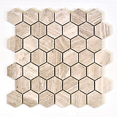 Hexagon Wooden White 2-inch x 2-inch Marble Polished Mosaic