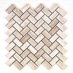 Herringbone Wooden White Marble Polished Mosaic Tile