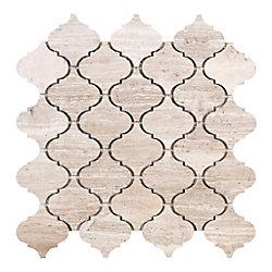 Modamo Arabesque Wooden White Marble Polished Mosaic Tile