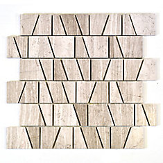 Trapezoid Wooden White Marble Polished Mosaic Tile