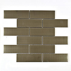 Stainless Steel 2-inch x 6-inch Metal Mosaic Tile