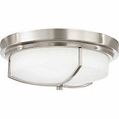 13 inch LED Flush Mount with White Frosted Glass, Brushed Nickel Finish
