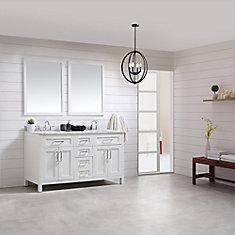 Tahoe 60-inch x 21-inch x 34.5-inch White Freestanding Bathroom Vanity