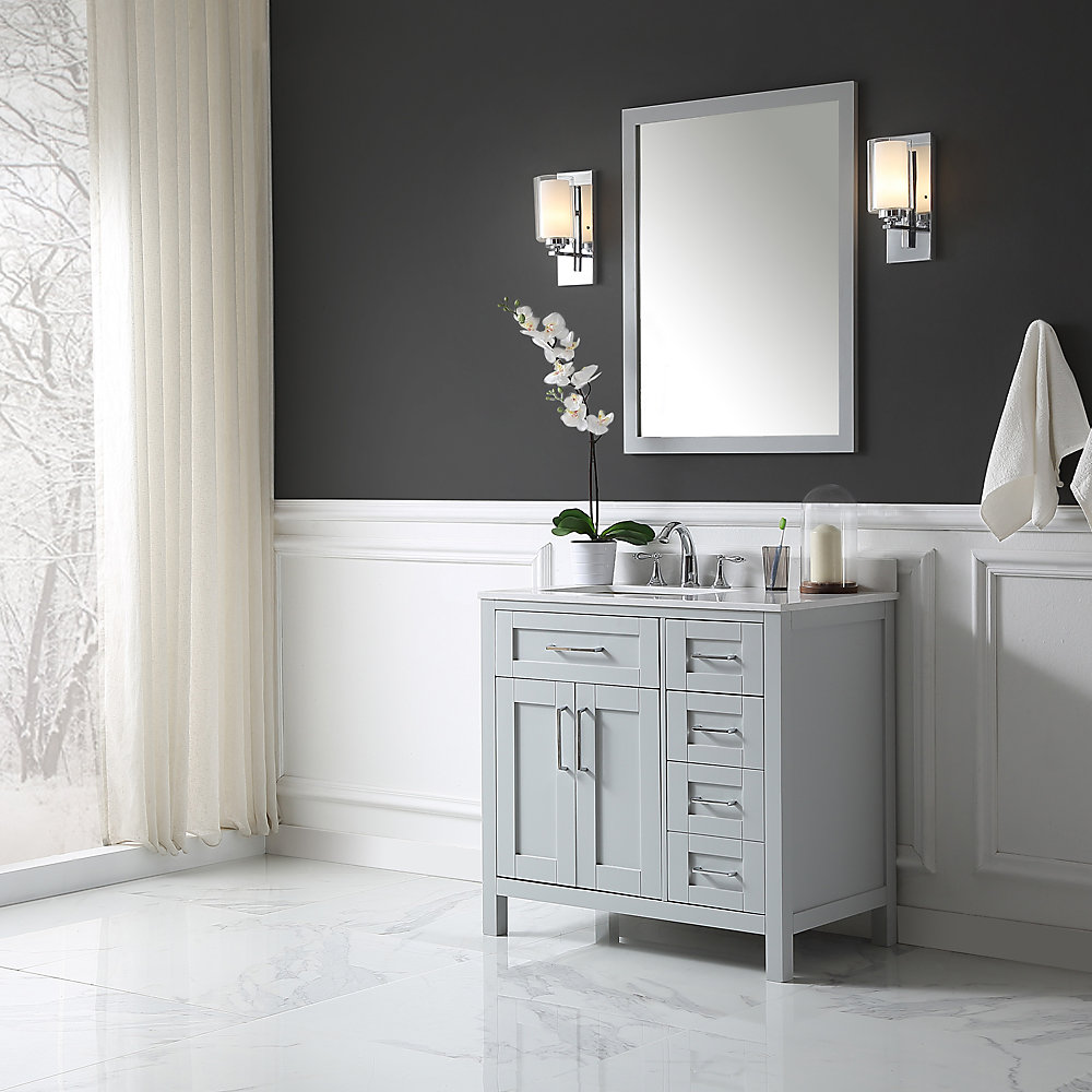 Ove decors tahoe 36 inch x 21 inch x 34 5 inch dove grey - Bathroom vanity and mirror combo ...