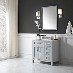 Tahoe 36-inch x 21-inch x 34.5-inch Dove Grey Freestanding Bathroom Vanity Combo With Assorted Mirror
