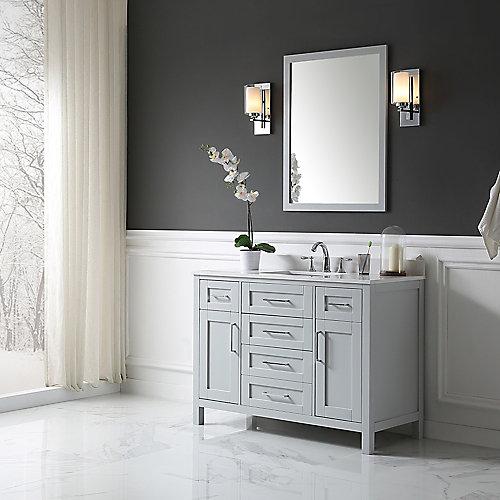 Tahoe 48-inch x 21-inch x 34.5-inch Pebble Grey Freestanding Bathroom Vanity with Mirror