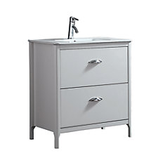 Scarlett 32-inch x 18.13-inch x 34.5-inch White Freestanding Bathroom Vanity With Ceramic Countertop