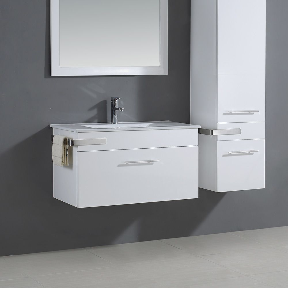 Ove Decors Maxen 35-inch x 18.13-inch x 16.56-inch White Wall Hung Bathroom Vanity
