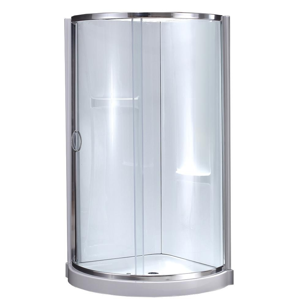 8227e5e1c6b Ove Decors Breeze 34 In X 78 Chrome Round Corner