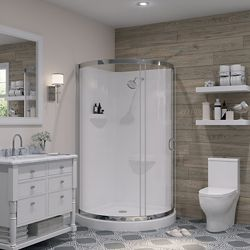 Ove Decors Breeze 38-inch x 38-inch x 38-inch Chrome Round Corner Shower Kit in White With Corner Drain