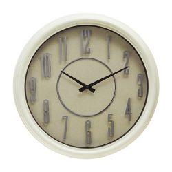 Kiera Grace Decorative Wall Clock 18-inch, Light Cream with Sandy Textured Face