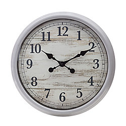 "Kiera Grace Kiera Grace - Decorative Wall Clock 20"", Antiqued Gray with Distressed Wood Face"