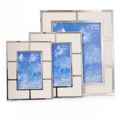 Kiera Grace Legacy - Ensemble de 3 cadres en métal plaqué nickelé avec tapis en lin tissé beige