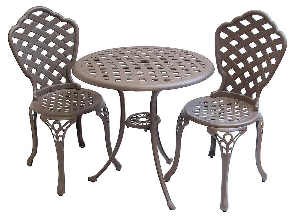 Ensemble bistro à cadre aluminium pour le jardin, ton café, 3 pièces