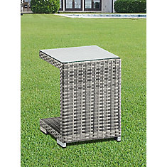 Side Table With Aluminum Frame And Mixed Grey PVC Wicker