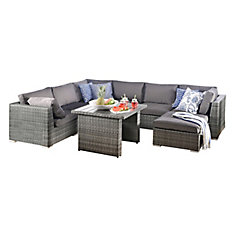8 Piece Sofa Set With Aluminum Frame Mixed Grey PVC Wicker And Grey Cushions