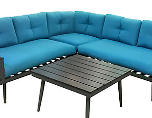 Henryka 4 Piece Sectional Sofa Set With Charcoal Aluminum Frame And Turquoise Cushions The Home Depot Canada