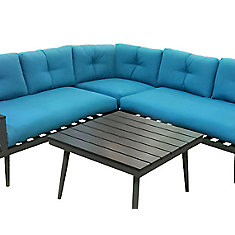 4 Piece Sectional Sofa Set With Charcoal Aluminum Frame and Turquoise Cushions