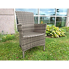 Charcoal Dinning Chair With Aluminum Frame PVC Wicker And Polywood Arm