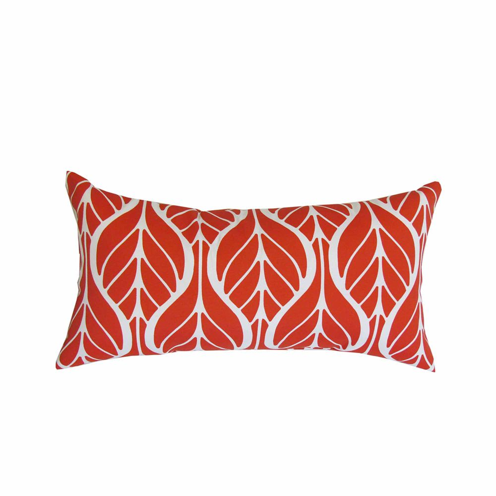 Bozanto Inc 10.5 x 19 x 5 inch Leaves Toss Cushion in Red