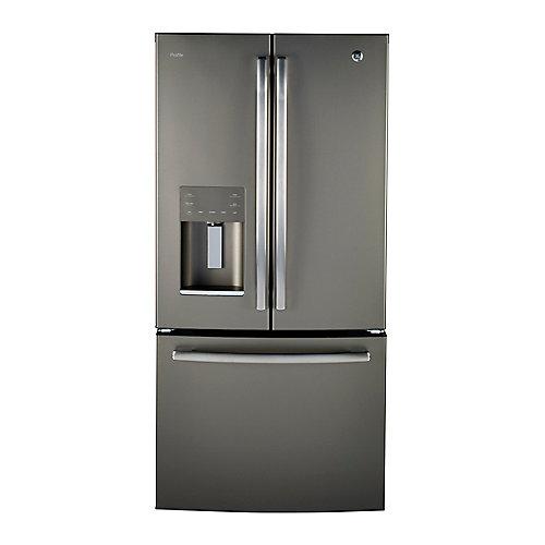 33 po L 23,8 pi.cu. Réfrigérateur encastrable à porte française en ardoise