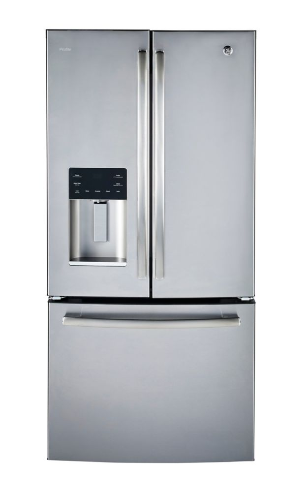 GE Profile 33 inch W 23.8 cu.ft. French Door Bottom-Mount Refrigerator in Stainless Steel - ENERGY STAR®