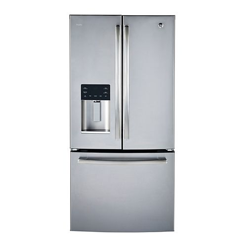 GE Profile 33-inch W 23.8 cu.ft. French Quad Door Bottom Freezer Refrigerator in Stainless Steel, ENERGY STAR®