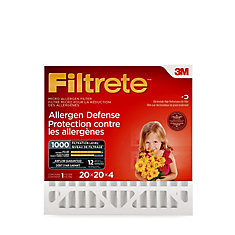 Filtrete Allergen Defense Micro Allergen Deep Pleat Filter, MPR 1000, 20 inch. x 20 inch. x 4 inch.