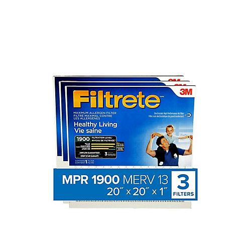 Filtre pour fournaise à allergènes MPR 1900 Maximum 20 po x 20 po x 20 po x 20 po pour une vie saine (paquet de 3)