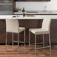 Huntington Beige Fabric Bar Stools with Chrome Legs, Counter Height (Set of 2)