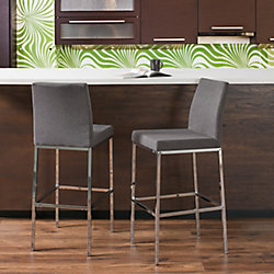 Corliving Huntington Grey Fabric Bar Stools with Chrome Legs, Bar Height (Set of 2)