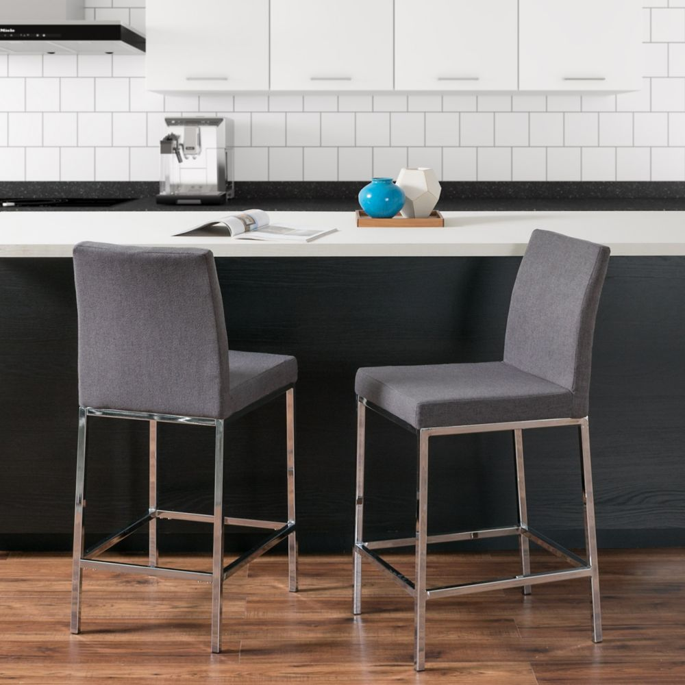 Corliving Huntington Grey Fabric Bar Stools with Chrome Legs, Counter Height, Set of 2