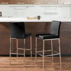 Corliving Huntington Black Leatherette Bar Stools with Chrome Legs, Bar Height (Set of 2)
